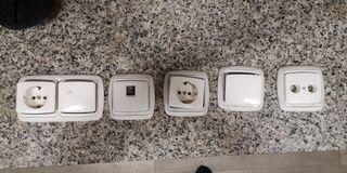 tapas de enchufe, pulsador, antena y tv, y tlf
