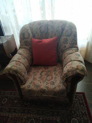 Sofá y 2 sillones con embellecedores madera