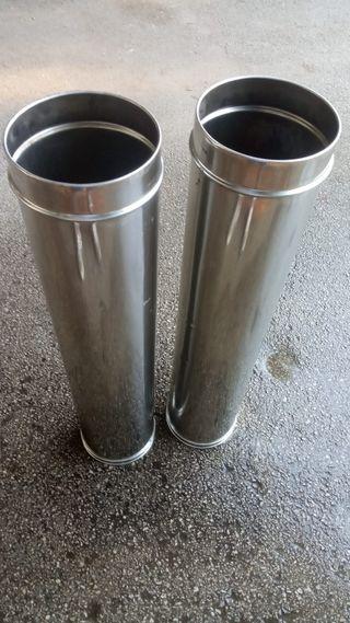 2 tubos de acero inoxidable chimenea