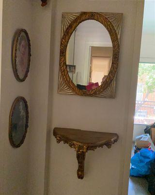 Conjunto vintage espejo mesita.