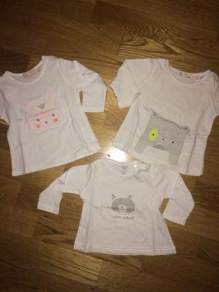 3 Camisetas de ZARA talla 3-6 Meses Bebe niña