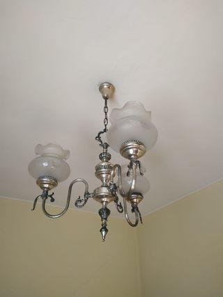 Lámpara plata vieja 3 brazos