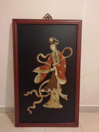 cuadro chino de jade y marfil