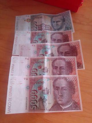 billetes. antiguas pesetas.