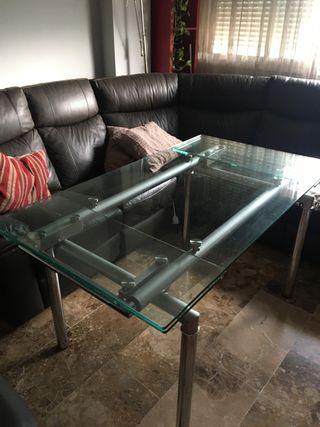 Mesa Salón Cristal cromo