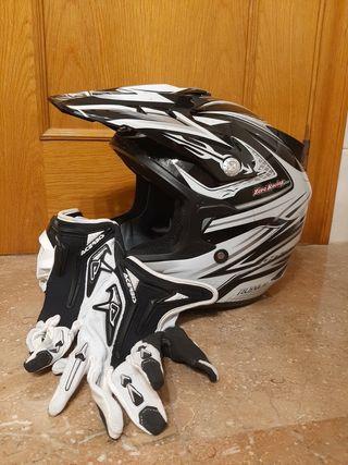 Casco y guantes motocross talla grande