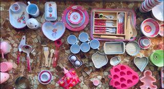 Colección utensilios de cocina de tarta de fresa