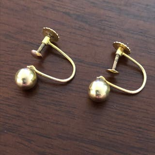 Antique 9ct Solid Yellow Gold Ball Earrings