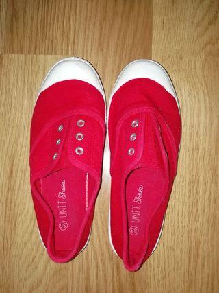 Zapatillas lona niñ@ rojas talla 35
