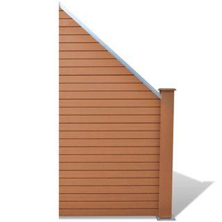 Panel de valla WPC marrón 105x(105-185) cm