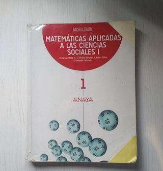 Vendo libro de matemáticas aplicadas 1° Bach anaya