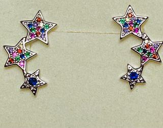 Pendientes trepadores estrellas plata ley y gemas