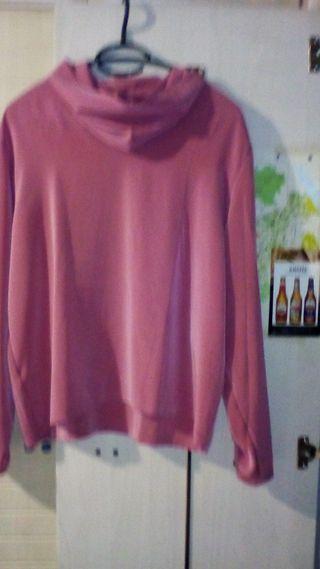 Blusa mujer Rosa manga larga fina cuello vuelto .