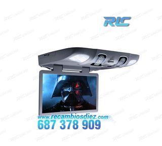 """PANTALLA TECHO GRIS 15,6"""" DVD ALTAVOCES LUZ Y JUEG"""