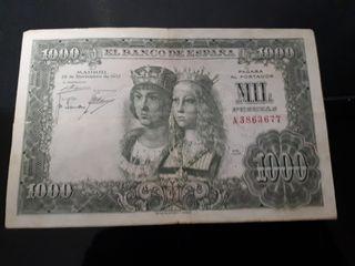 billete 1000 pesetas España Reyes católicos 1957