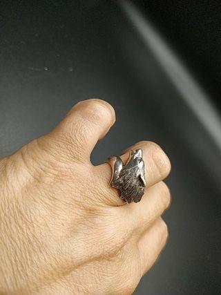 anillo plata maciza años 70 lobo