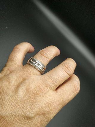 anillo plata y circonitas años 80