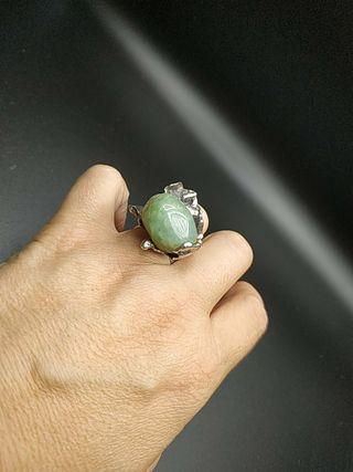 anillo años 60 plata y jade auténtico