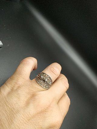 anillo de plata y filigrana años 30