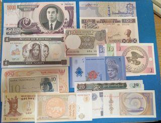 Lote 40 billetes extranjeros diferentes