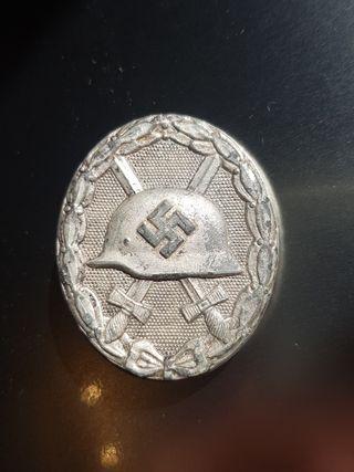 Alemania Nazi Medalla Herido en Plata con Marcajes