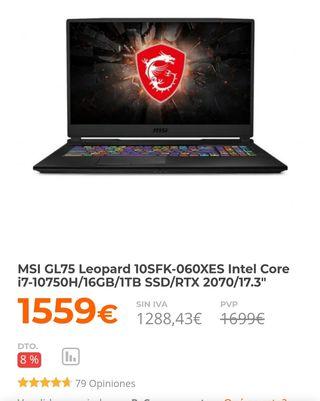 portatil gaming Msi leopard gl75