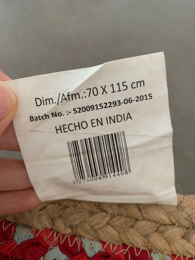Alfombra 70x115cm yute paja trenzado natural