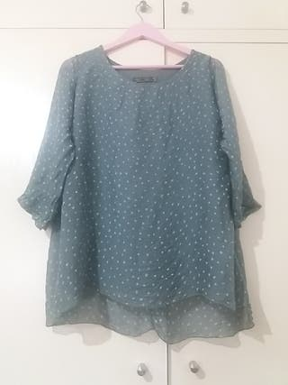 camisa seda doble forro T M marca italiana