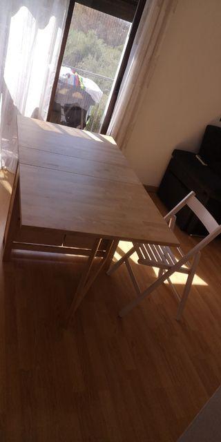mesa de comedor pregable + 4 sillas opcionales