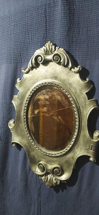 Espejo oval plata vieja