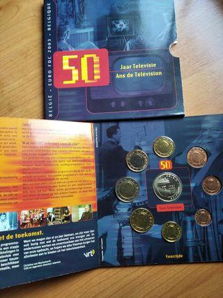 cartera Bélgica 2003 8 valores medalla de plata