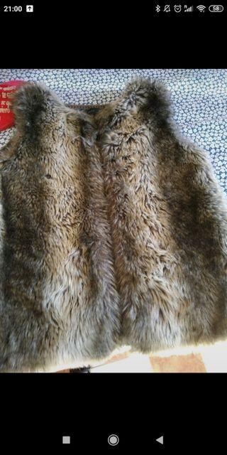 abrigo sin mangas de pelo