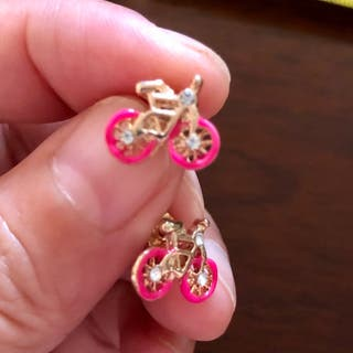 925 Silver Gold Plated Pink Bicycle Earrings