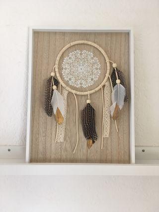 Cuadro madera plumas