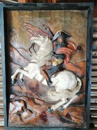 cuadro madera esculpida de Napoleón a caballo