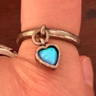 Antique 925 Silver Blue Fire Opal Heart Ring