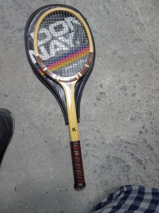 raqueta tenis clásica madera kawasaki