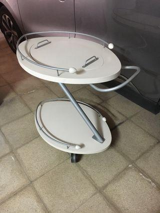 Camarera con bandeja extraible y ruedas blanca per
