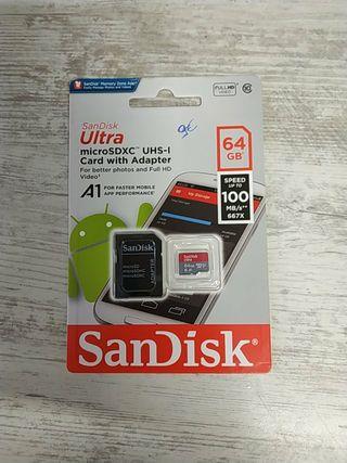 Tarjeta Micro Sd 64Gb Sandisk Nueva