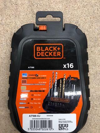 Pack de 16 brocas Black and Decker -precintado-.
