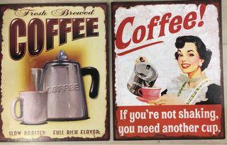 Lote dos carteles vintage chapa decoración cafe