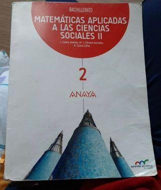 Libro de matemáticas Anaya 2º de Bachillerato