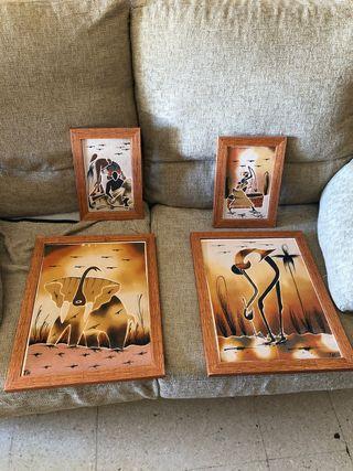 4 cuadros textura arenosa ( África )