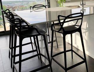 Dos sillas negras altas para cocina