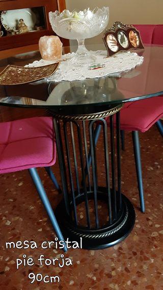 Pack de mesas de cristal y forja