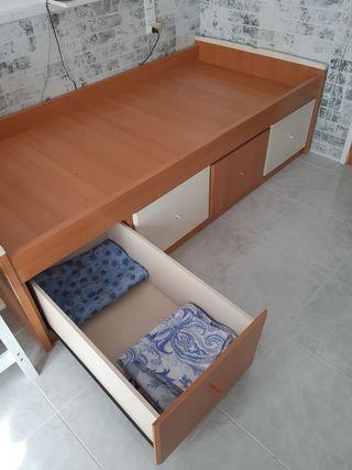 Cama madera color haya y blanco 100x203 cm