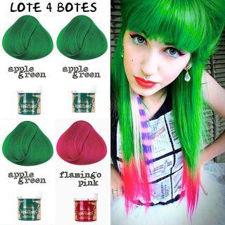 LOTE 4 Botes Tinte Cabello Pelo Verde Rosa Fucsia