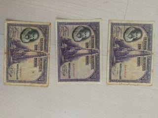 3 billetes 100 pesetas 1928