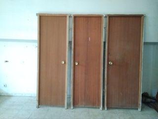 3 puertas de pino sapelly color caoba