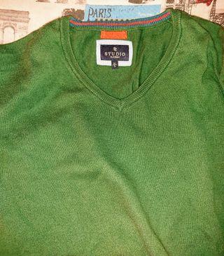 Jersey verde de Lana fina marca Studio
